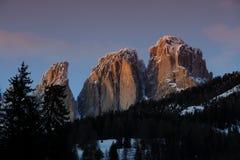 Vista di tramonto del Sassolungo & del x28; Langkofel& x29; Gruppo delle dolomia italiane Fotografia Stock Libera da Diritti