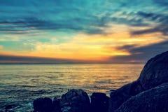 Vista di tramonto dell'oceano Fotografia Stock Libera da Diritti