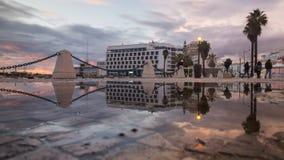 Vista di tramonto della città di Faro Fotografia Stock