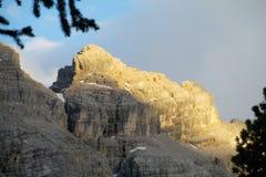 Vista di tramonto delle alpi della dolomia bella Immagine Stock Libera da Diritti