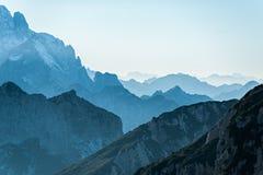 Vista di tramonto in Julian Alps Fotografia Stock Libera da Diritti