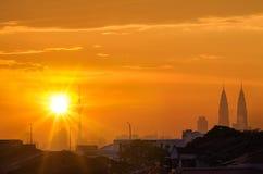 Vista di tramonto in Kuala Lumpur, Malesia fotografia stock