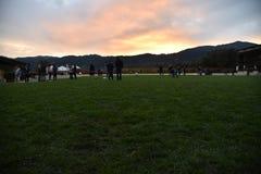 Vista di tramonto in Napa Valley, catena montuosa, campo Immagini Stock Libere da Diritti