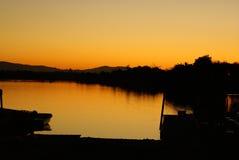 Vista di tramonto nel lago park di Shoreline, California, U.S.A. Fotografia Stock Libera da Diritti