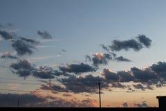 Vista di tramonto nel villaggio Fotografie Stock Libere da Diritti
