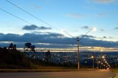 Vista di tramonto nella città fotografia stock
