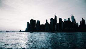 Vista di tramonto di New York Manhattan archivi video