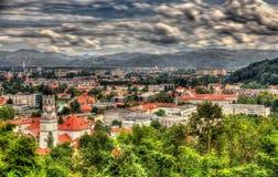 Vista di Transferrina dal castello, Slovenia Fotografie Stock Libere da Diritti