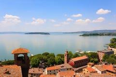 Vista di Trasimeno del lago, Italia Fotografie Stock