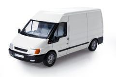 Vista di tre quarti del furgone di transito fotografie stock