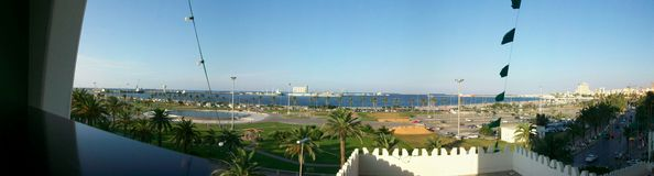 Vista di Tripoli Panoramiv del quadrato di libertà fotografia stock libera da diritti