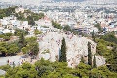 Vista di un Areopagus dall'acropoli Fotografie Stock