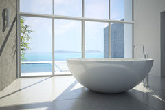 Vista di un bagno spazioso ed elegante in Fotografia Stock
