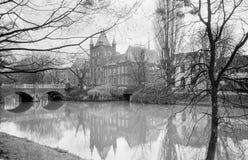 Vista di un canale, Utrecht, Olanda di inverno fotografie stock