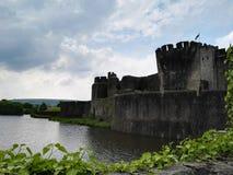 Vista di un castello di lingua gallese Fotografie Stock