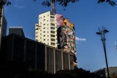 Vista di un graffito del ` s di kobra al viale di paulista immagini stock libere da diritti