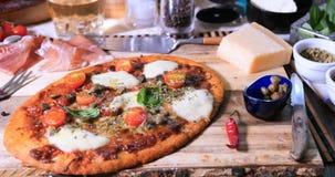 Vista di un margherita delizioso della pizza Immagini Stock