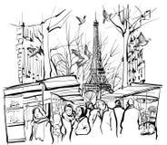 Vista di un mercato a Parigi vicino alla torre Eiffel royalty illustrazione gratis