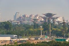 Vista di un parco nella priorità alta e nei precedenti la città di Singapore Immagini Stock Libere da Diritti