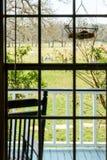 Vista di un pascolo con le mucche attraverso la finestra della casa del ranch fotografie stock