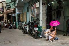 Vista di un vicolo in Ho Chi Minh City Fotografia Stock