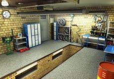 Vista di una rappresentazione interna 3D del garage 3D Fotografia Stock