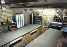 Vista di una rappresentazione interna 3D del garage 3D Fotografie Stock Libere da Diritti