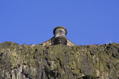 Vista di una torretta, castello di Edinburgh, Scozia fotografie stock