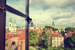 Vista di Varsavia dalla finestra fotografia stock
