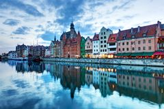 Vista di vecchi città di Danzica e fiume di Motlawa, Polonia Fotografia Stock Libera da Diritti