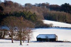 Vista di vecchia capanna di legno in un paesaggio nevoso Immagini Stock Libere da Diritti
