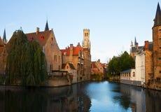 Vista di vecchia città, Bruges fotografia stock libera da diritti