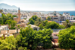 Vista di vecchia città di Kyrenia cyprus fotografia stock libera da diritti