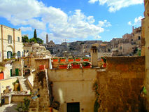 Vista di vecchia città di Matera Immagine Stock Libera da Diritti