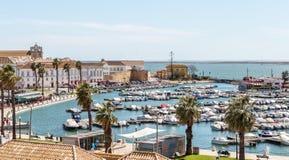 Vista di vecchia città di Faro dalla cima, al porticciolo Fotografia Stock Libera da Diritti