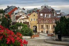Vista di vecchia città di Lublino dal castello di Lublino, Polonia Fotografia Stock