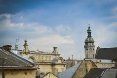 Vista di vecchia Leopoli dal tetto Immagini Stock Libere da Diritti