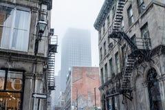 Vista di vecchia Montreal, Quebec, Canada, sotto la neve Immagine Stock