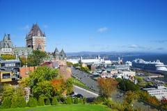 Vista di vecchia Quebec e del castello Frontenac, Quebec, Canada Fotografia Stock Libera da Diritti