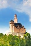 Vista di vecchio castello medievale di Marksburg Fotografie Stock