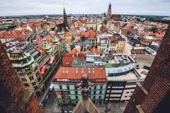 Vista di vecchio panorama della città di Wroclaw alta Fotografia Stock Libera da Diritti