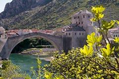 Vista di vecchio ponte di Mostar in primavera fotografia stock libera da diritti