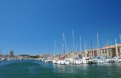 Vista di vecchio porto di Marsiglia Fotografia Stock Libera da Diritti