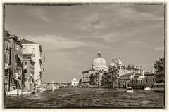 Vista di Venezia Grand Canal, stile d'annata della cartolina fotografia stock