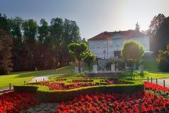 Vista di verticale del castello e dei fiori della Slovenia Transferrina Tivoli Fotografia Stock
