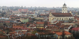 Vista di Vilnius da sopra Fotografia Stock