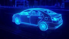 Vista di Wireframe dell'automobile della città - concettuale royalty illustrazione gratis