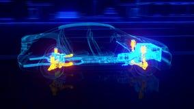 Vista di Wireframe dell'automobile della città - dettagli della trasmissione e del motore illustrazione di stock