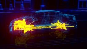 Vista di Wireframe dell'automobile della città - dettagli della trasmissione e del motore royalty illustrazione gratis
