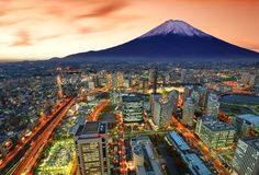 Yokohama e Fuji Fotografia Stock